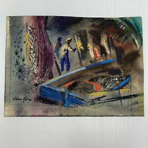 Allan-Jones-Nautical-Painting-1915-1989-Fisherman-Dock-Scene-Framed-Art-Painting