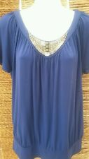 M&S Ladies Cobalt Blue Long Tunic Beaded Short Sleeve Top Size 10