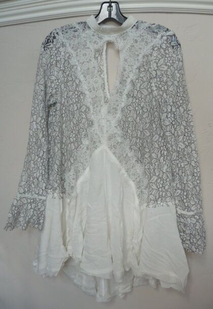 b5f9b8705d1 People Secret Origins Pieced Lace Tunic Dress Ivory Large for sale online