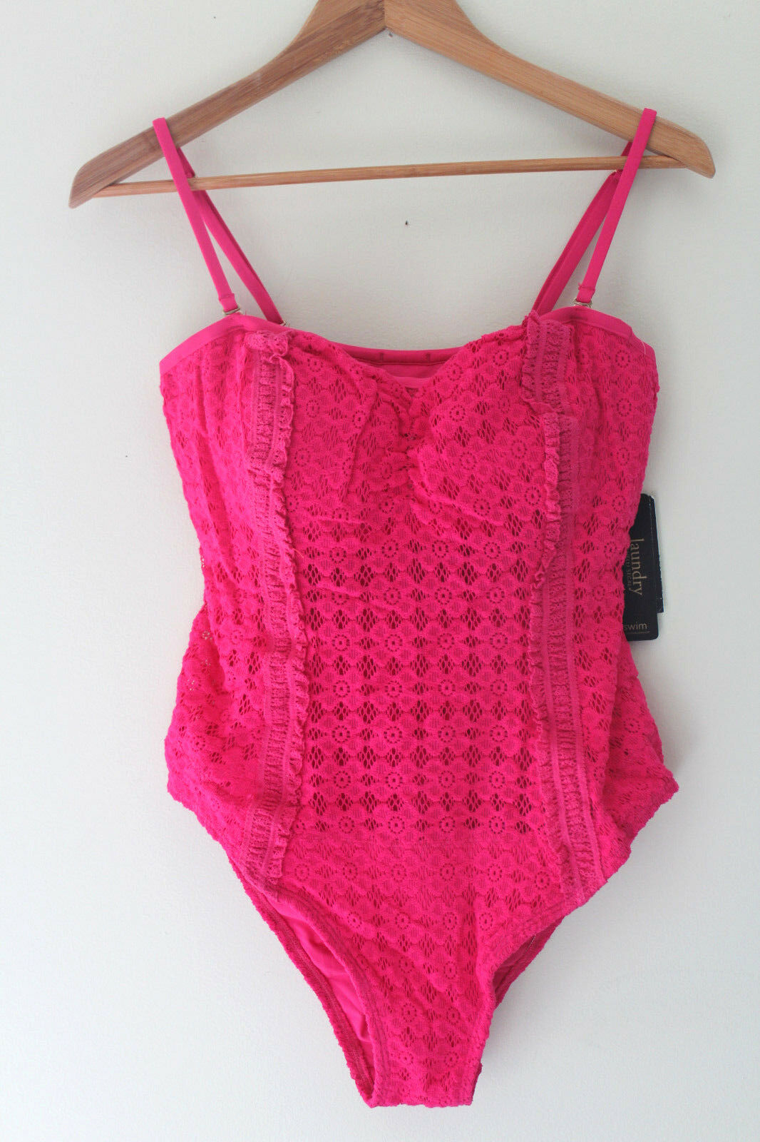 NWT Laundry by Shelli Segal Neon Pink Sexy Crochet Lace Congreenible Swim Suit L
