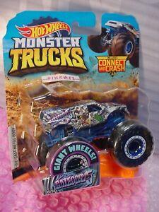 Monster-Vagones-Categoria-5-45-50-Gris-Azul-Connect-Golpe-2019-Hot-Wheels