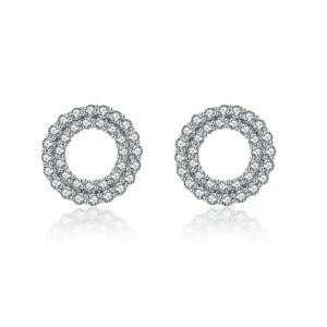 18k white gold gp made with SWAROVSKI crystal round circle stud earrings 925 pin