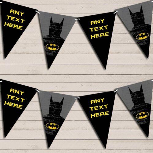 Superhero Batman Children/'s Birthday Bunting Garland Personalised Flag Banner