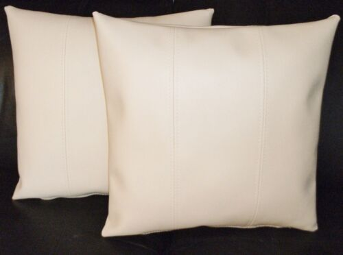 """2 Cream Stripe Faux Leather Cushion Covers 16/"""" 18/"""" 20/"""" Scatter Pillows"""