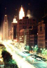 1956 Michigan Ave Chicago Night Steet Scene Car Light Streaks 35mm Kodak Slide 2
