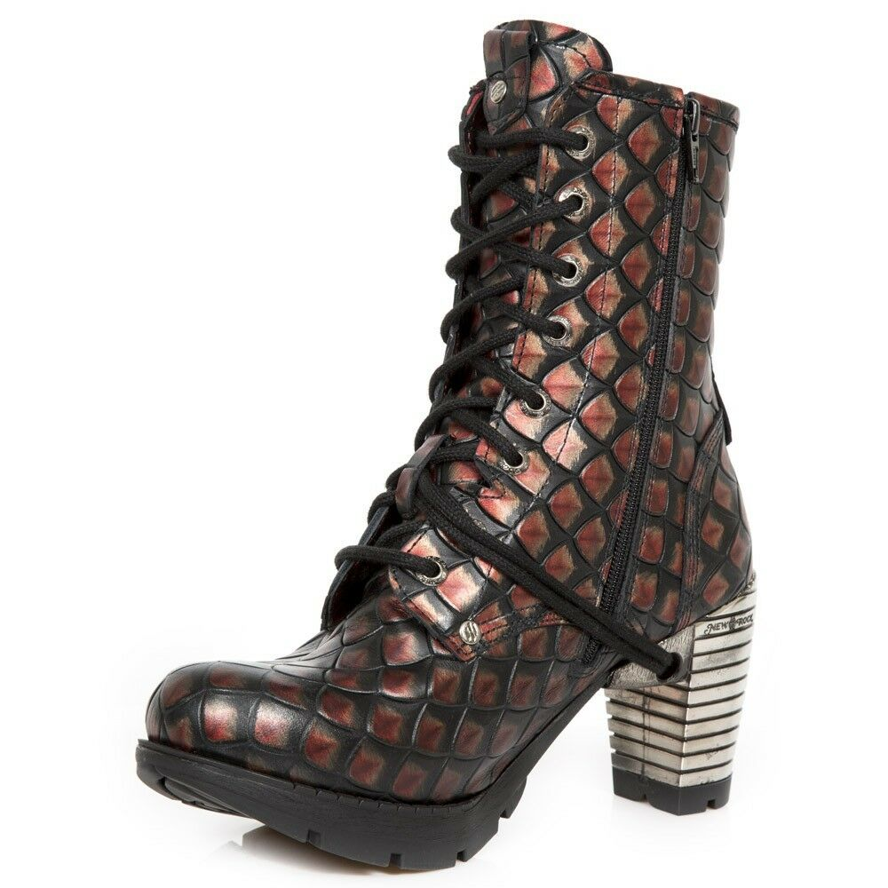 Newrock New Rock tr001-s59  boots  Red cow leather boots  Punk Gothique Urban Boots 2daf1a