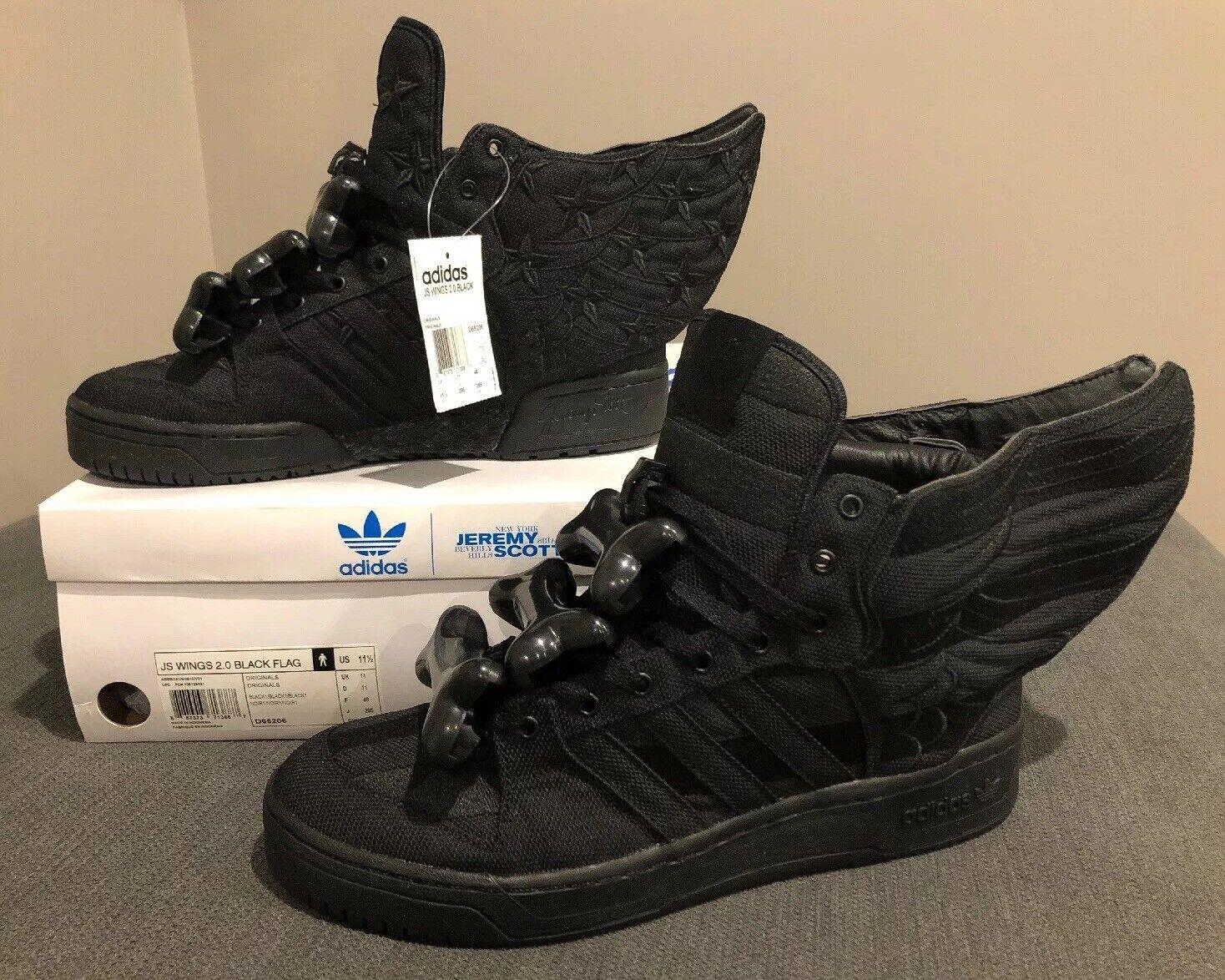 NEW Adidas Jeremy Scott Asap Rocky Black Flag Wings 2.0, Size 11.5, Very Rare