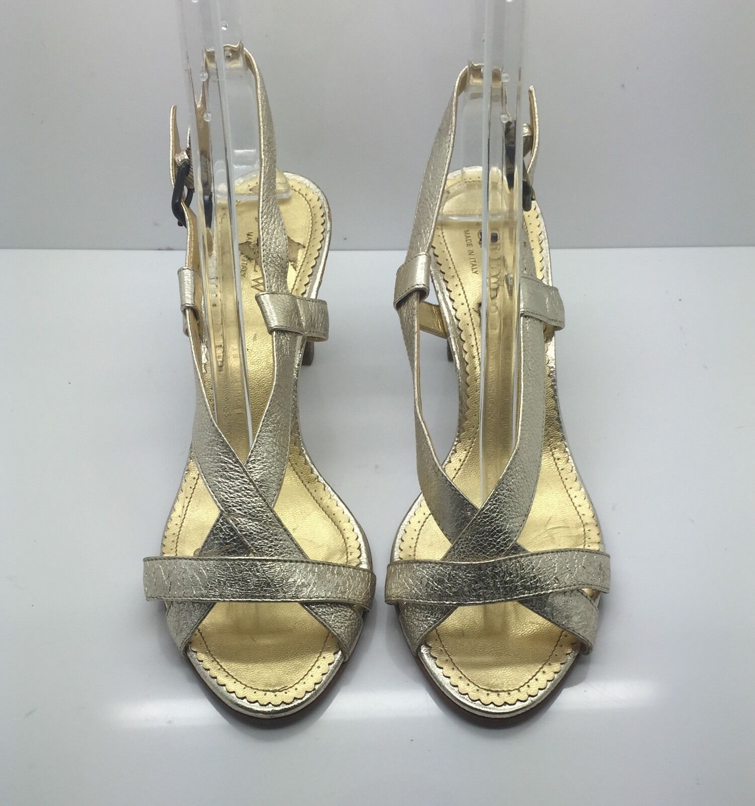 J CREW Gold Metallic Leather Strappy Heels Sandals Woman's Sz 8.5M Italy CUTE!!!