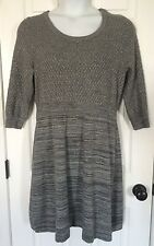 LANE BRYANT Sweater Dress 14 16 Gray Metallic 3/4 Sleeves Mini Plus Cotton