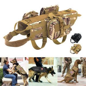 Veste-De-Harnais-Tactique-Pour-Chien-Gilet-MOLLE-Reglable-Tirer-Militaire-Gilet