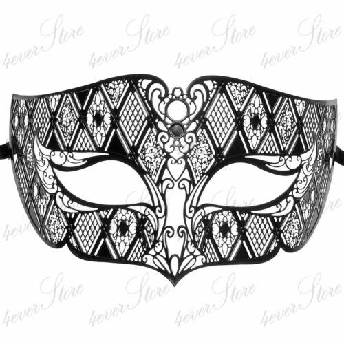 Mens Luxury Laser Cut Venetian Masquerade Mask Black Made of Light Metal