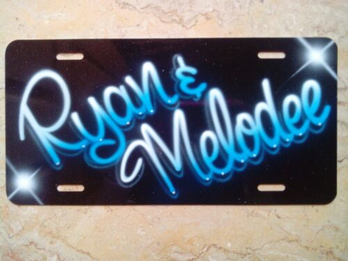 Airbrush Custom License Plate Car Tag Frame Personalized Couples Blue Black