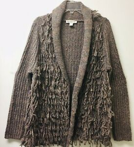 Vintage-America-Blues-Womens-Sz-L-Cardigan-Sweater-Brown-Multicolor-Shaggy-Yarn