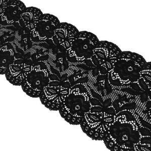 5-Yd-14cm-Stretch-Floral-Lace-Trim-Fabric-Decorating-Floral-Designing-amp-Crafts