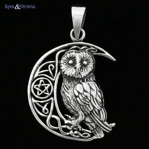 Lisa parker sterling silver pendant celtic moon owl wicca pagan image is loading lisa parker sterling silver pendant 034 celtic moon aloadofball Image collections
