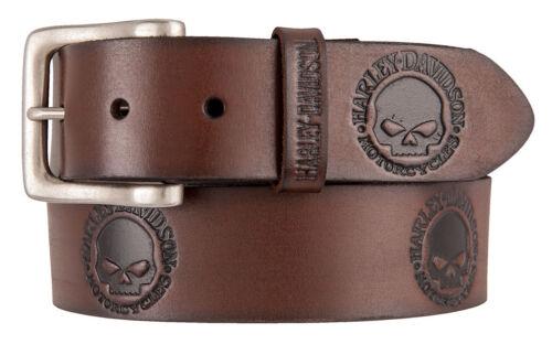 Harley-Davidson Men/'s Embossed Willie/'s World Leather Belt Brown HDMBT11333-BRN