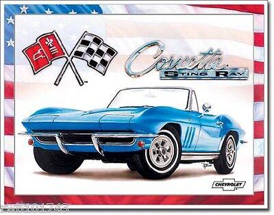 Corvette 65 Stingray TIN SIGN chevrolet garage poster metal vtg wall decor 1913