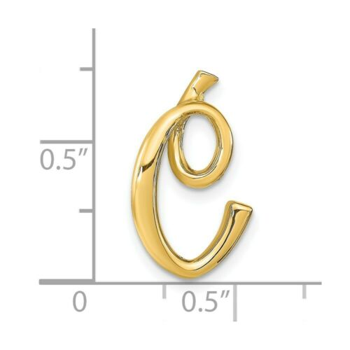 14K Yellow Gold Polished Letter C Initial Slide Pendant