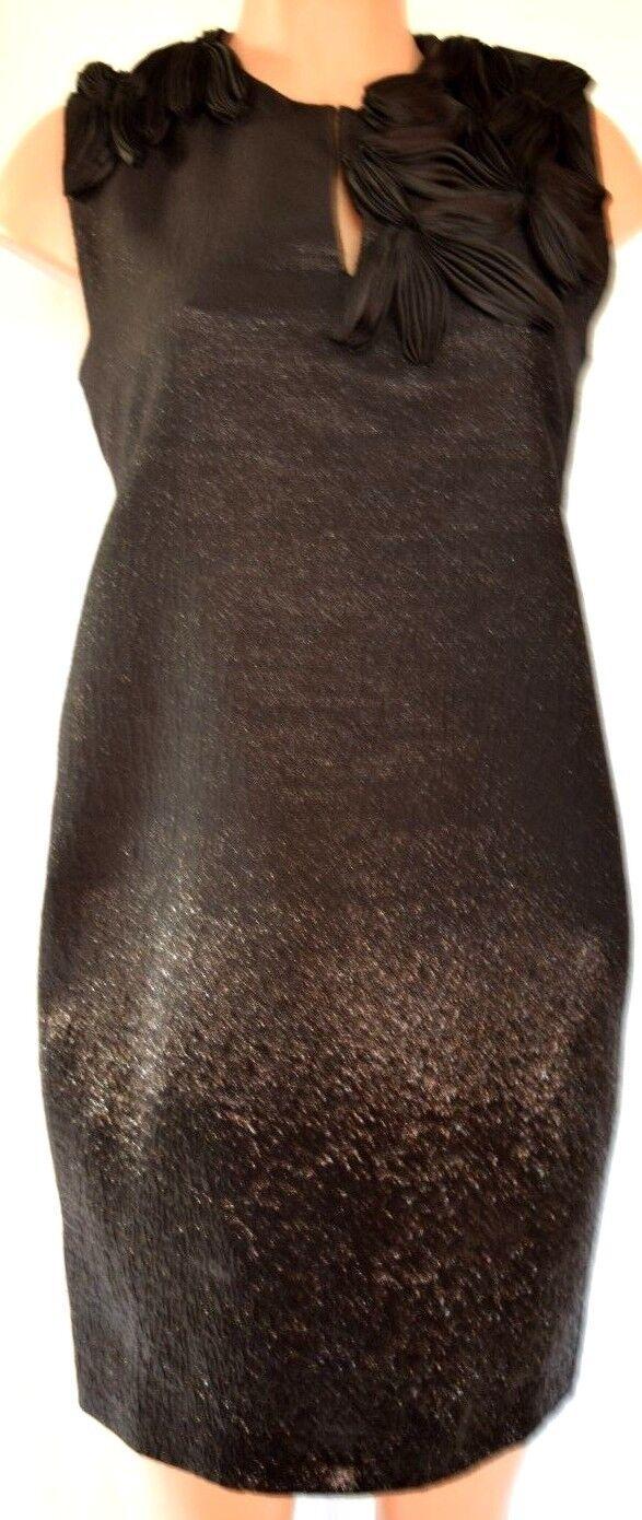Fendi Métallique Noir sans Manches Floral Applique Robe - Taille 42