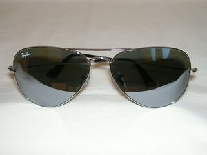 9cfe7174502 New Ray Ban AVIATOR Sunglasses Silver RB 3025 W3277 Silver Mirror ...