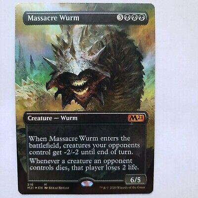 Magic the Gathering M21 Core Set Massacre Wurm Showcase Borderless Full Art