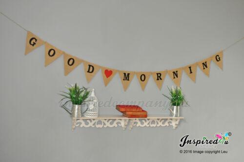 Good Morning jute Bruant de Hesse Bannière Photo Home Decor motivation Bureau