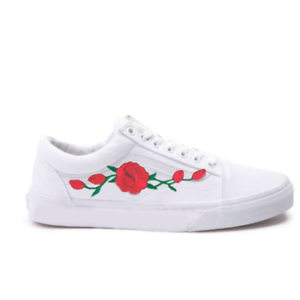 6cf0411e1df Details about New White Vans Old Skool Skateboarding Red Rose   Pink Rose  Embroidery Patch