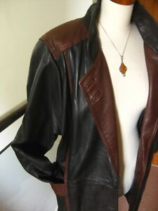 Ladies-vintage-real-leather-JACKET-COUNTY-COAT-UK-18-20-22-XL-retro-car-cyclist
