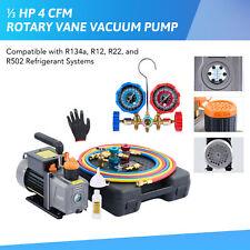 Omt 13hp 4cfm Ac Vacuum Pump W Gauge Set R12 R22 R134a R502 Mechanic Hvac Tool