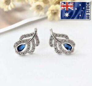 Elegant-925-Sterling-Silver-Crystal-Leaf-Blue-Sapphire-Stud-Earrings-Vintage
