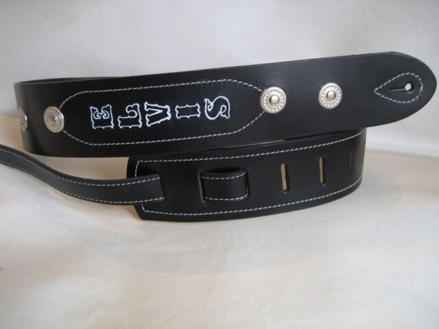 GENUINE LEATHER BLACK PERSONAL  CONCHO BASS, ACOUSTIC GUITAR STRAP
