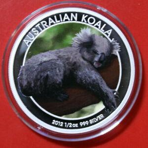 Australien-50-Cents-2012-Silber-F3693-1-2-Oz-034-Koala-034-Colored-nur-2-000-Raritaet