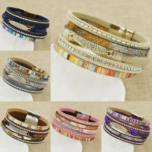 Hot-Women-Bohemian-Leather-Multilayer-Rhinestone-Bracelet-Magnet-Wrap-Bangle
