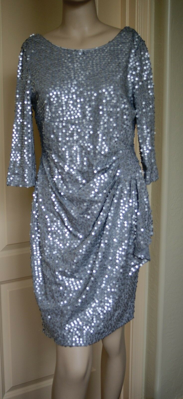 Alex Evenings Sequin Drape Side Dress (Size 10P)