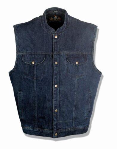 Outlaw Biker Gun Pocket SOA Anarchy Style Men/'s Blue Denim Motorcycle Vest