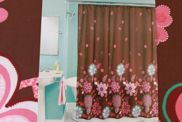 Shower Curtains Pink And Brown.Peri Nola Floral Fabric Shower Curtain Brown Pink Multi Ebay
