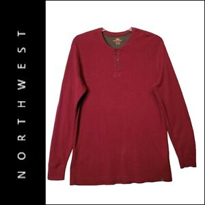 NORTHWEST Men Red Thermal Mock Neck Pullover Sweater Size XLT