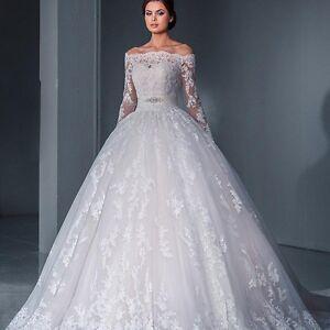 Off-shoulder-Lace-Applique-Long-Sleeves-wedding-dress-with-sash-UK-tailor-made