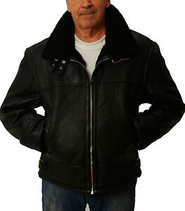 distinctive style half off wide varieties Details about Mens Black Shearling Sheepskin Leather Bomber Jacket by CD D  C sizes 5XL