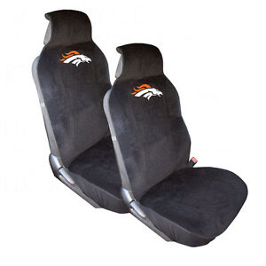 new nfl denver broncos 2 front car truck suv van front sideless seat covers ebay. Black Bedroom Furniture Sets. Home Design Ideas