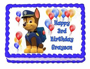 Paw Patrol Logo Sheet Edible Photo Birthday Cake Topper Frosting Sheet Party 4 Inch