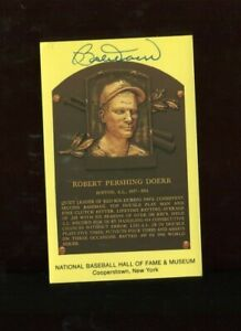 Autographed Yellow HOF Plaque Postcard - Bobby Doerr - Boston Red Sox