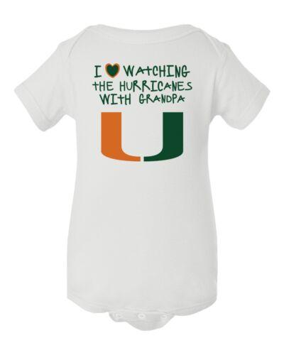 University Of Miami Hurricanes Watching With Grandpa Baby Short Sleeve Bodysuit