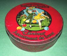 c1920 Art Deco Lady Dancer & Circus Clown Mackintoshs Toffee Tin Box & Lid