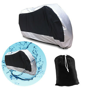 Motorcycle-Waterproof-Scooter-Bike-Motorbike-Dust-Rain-Cover-Silver-XL-Black