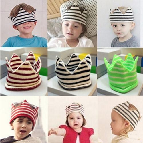 Baby Boy Girl Infant Trendy Handmade Brithday Cap Crochet Knitted Crown Hat