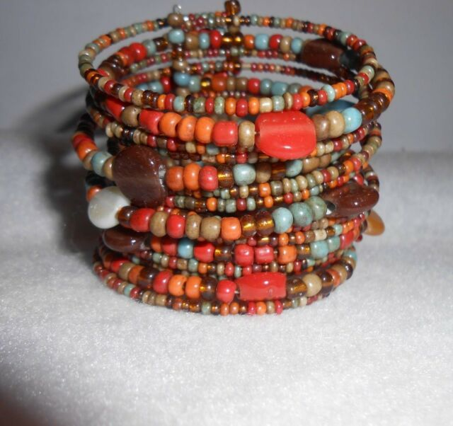Indonesian Tribal Seed Bead Bracelet w/shell, stone and assorted glass beads