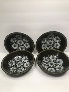 4-MIKASA-COUPE-SOUP-BOWLS-RAVENNA-7505-039-039-MAJORCA-039-039-DAISIES-ON-BROWN-JAPAN