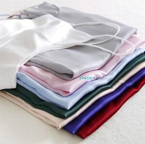 Womens-silk-Satin-Camisole-Cami-Plain-Strappy-Vest-Top-Sleeveless-Blouse-Tank