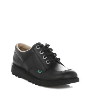 calzature Kickers Mens pelle Black derby stringate in casual Scarpe Lo Kick 6SqrnazgW6